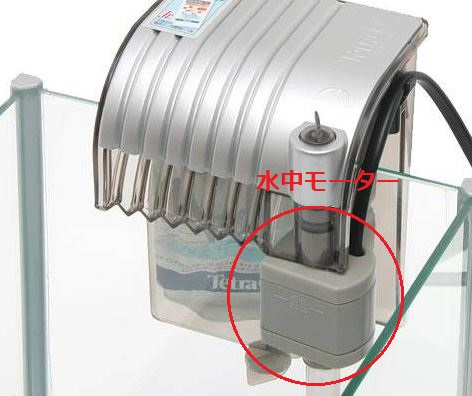 外掛け式フィルターの画像があります。その画像のどの部分にモーターがあるのかを示した画像